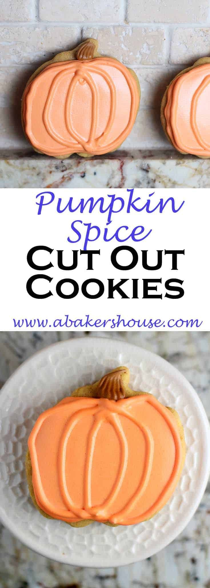 Pumpkin Spice Cut Out Cookies start with a basic cookie dough to which pumpkin spice is added. Cut them out then decorate with pumpkin colors and these are festive and fun for pumpkin season!#pumpkin #cookies #cutoutcookies