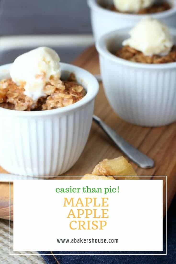 Maple Apple Crisp will become a fall favorite.No need to fuss with crafting pie dough, just add a few spices and some sugar to apples then top that combination with a mixture of oats and melted butter (among other ingredients) and you'll have a gorgeous apple dessert worthy of any autumn occasion. #maple #apple #falldessert #autumndessert #healthydessert #applecrisp #abakershouse