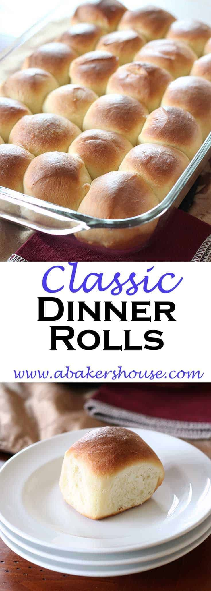 Classic dinner rolls are the perfect accompaniment to many a family feast. This recipe doesn't require fancy baking equipment; simply bake the rolls in a 9 by 13 baking dish. The results are fluffy and tender. #abakershouse #homemadebread #rolls #breadbuns