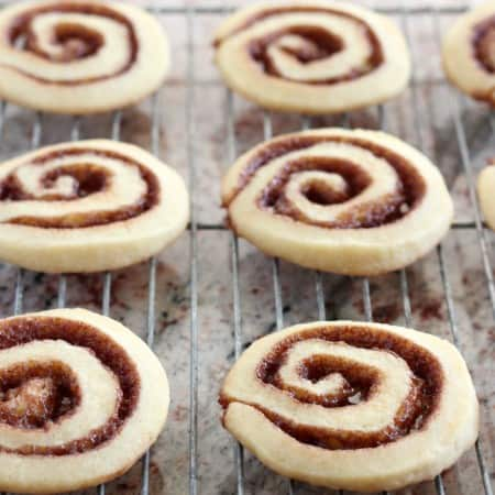 Cinnamon rolls cookies on wire cooling rack