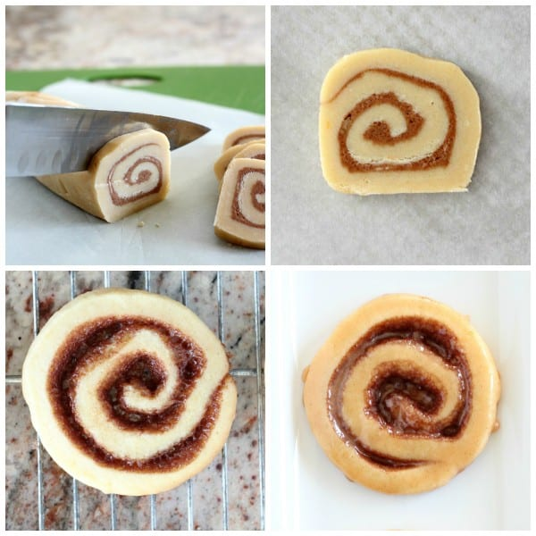 Four photos showing steps to roll dough for pinwheel cinnamon cookies