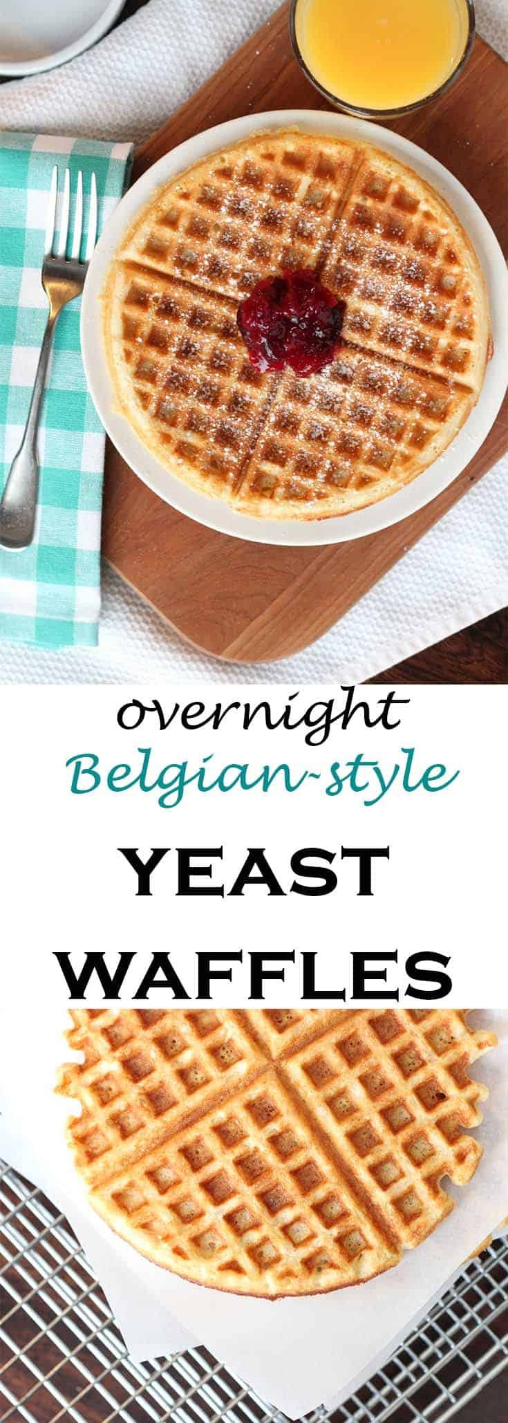 This dough recipe from King Arthur Flour is one of the easier yeast doughs you'll come across for overnight Belgian style yeast waffles. Make the full batch and freeze the extras. The leftovers toast up beautifully. #abakershouse #waffles #homemade #yeast #belgian #belgianwaffles #breakfast