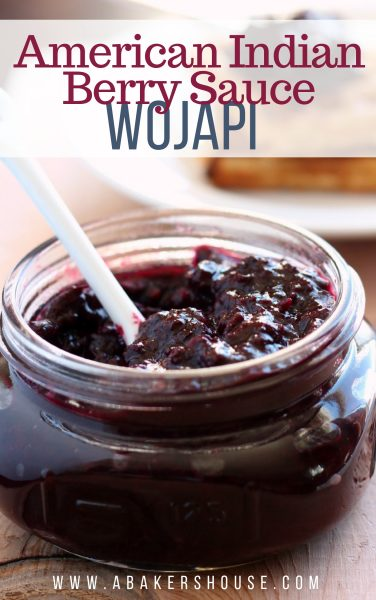 wojapi american indian berry sauce in a small mason jar with white spoon