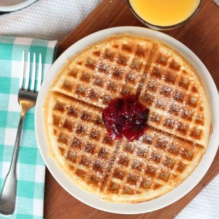 overnight Belgian style yeast waffles