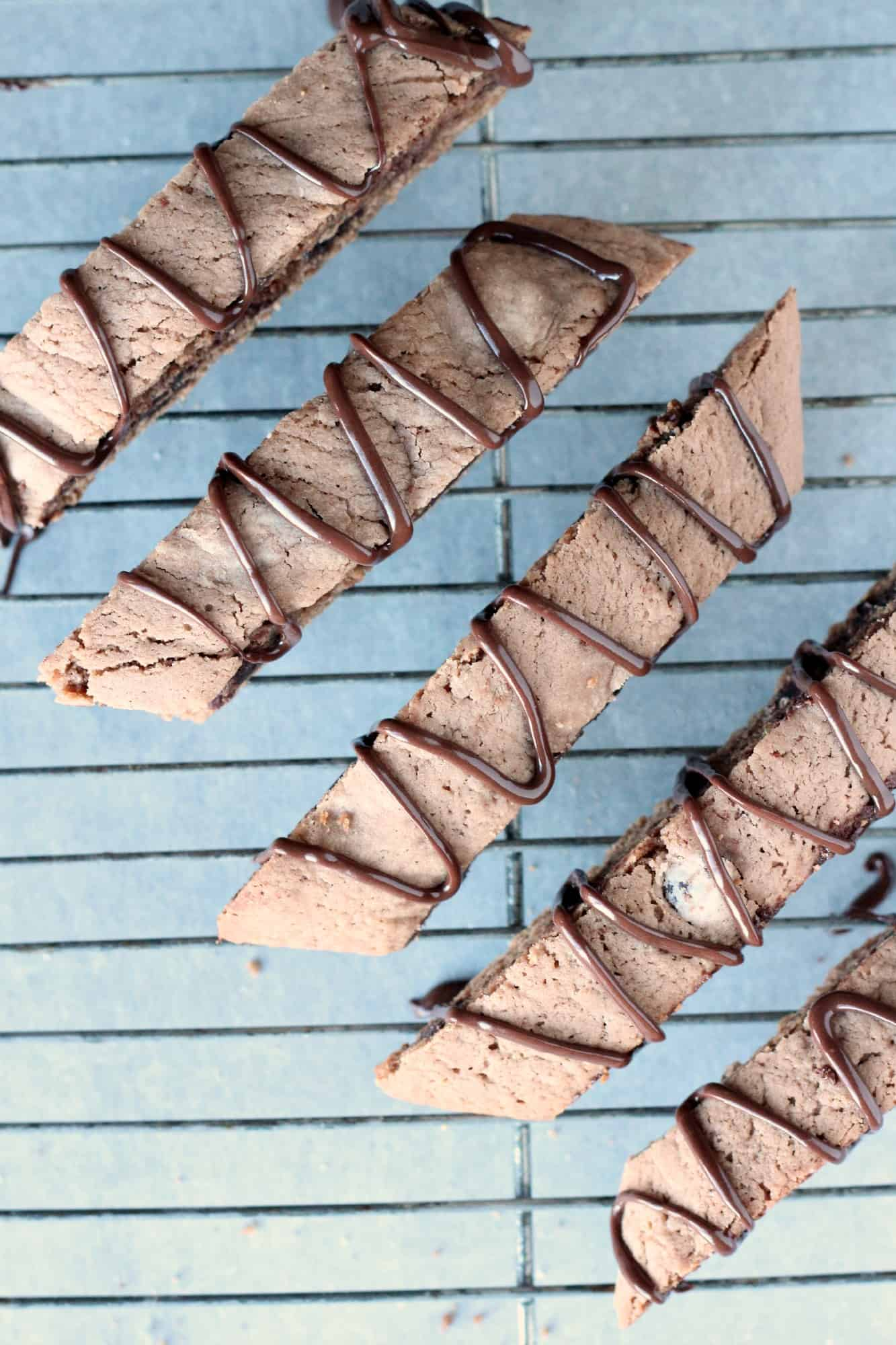 Mocha biscotti on a wire baking rack
