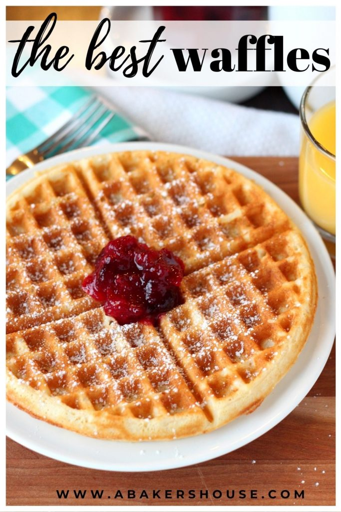 freshly cooked waffle on white plate with jam