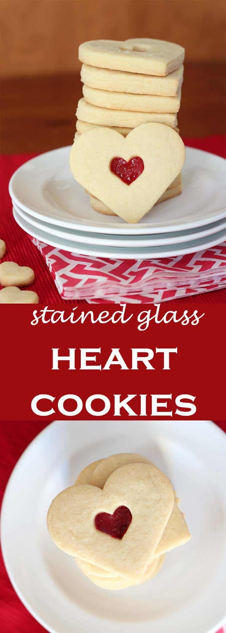Stained glass heart cookies made with a candy filling of Jolly Ranchers are a festive treat for Valentine's Day. #abakershouse #Valentines #cookierecipe #heartcookies