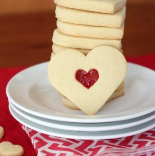 stack of heart cookies for Valentines' Day on red napkin