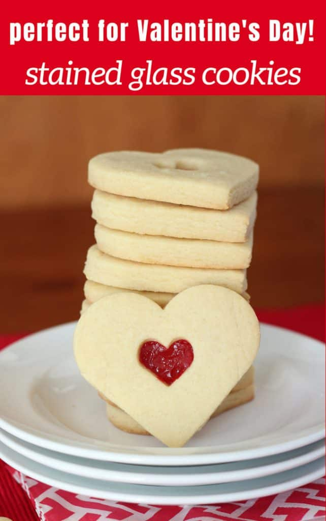Pinterest image for stained glass heart cookies in a stack for valentines day cookies