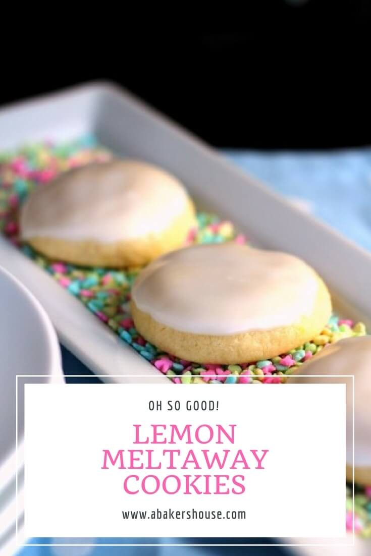 A bright bite of lemon sings in these lemon meltaway cookies. Perfect for wedding showers, baby showers, Easter, and spring celebrations. #abakershouse #lemoncookies #easydessert #dessertrecipe #wedding #shower #babyshower #birthday #celebration