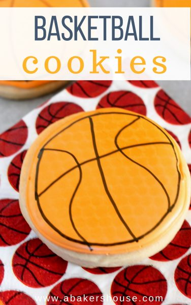 Pinterest image with text for basketball cookie on basketball napkin