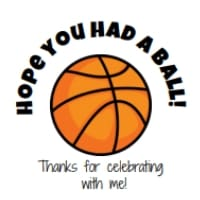 Square image of Basketball party favor sticker label