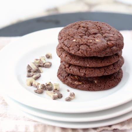 Stack of mint chocolate cookies