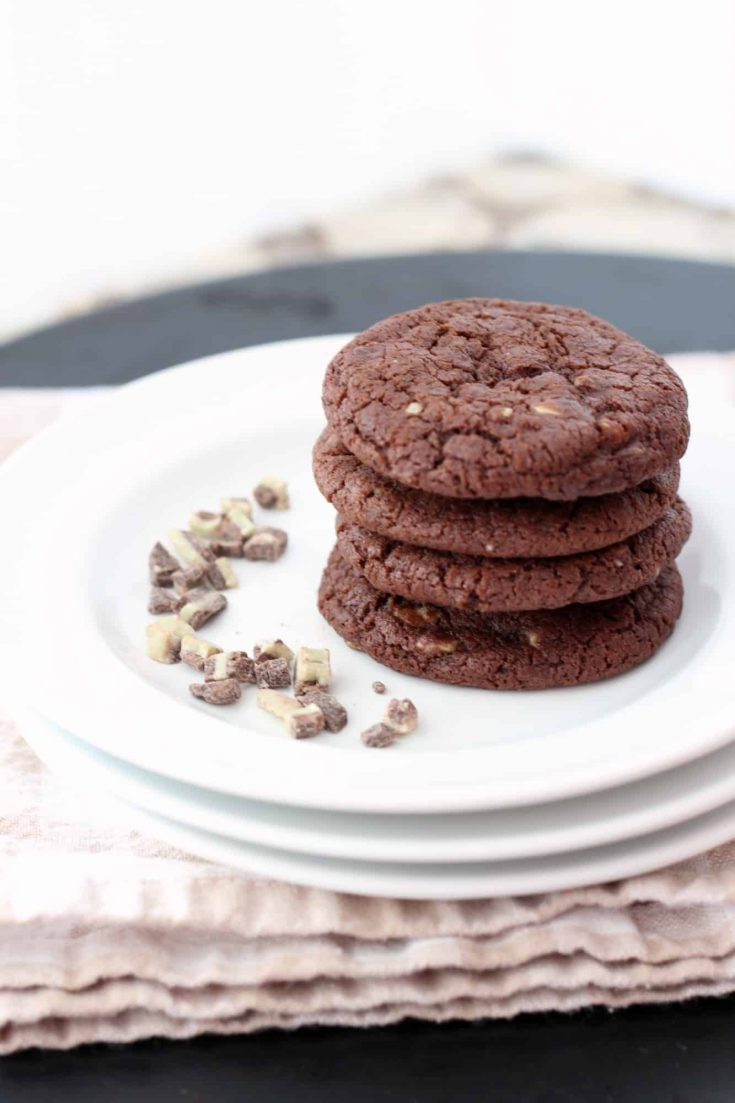 Mint Chip Chocolate Cookies are the first recipe I think of when I see the seasonal Andes crème de methe baking chips in the store. Chocolate and mint. #abakershouse #mint #chocolatecookies #cookierecipe