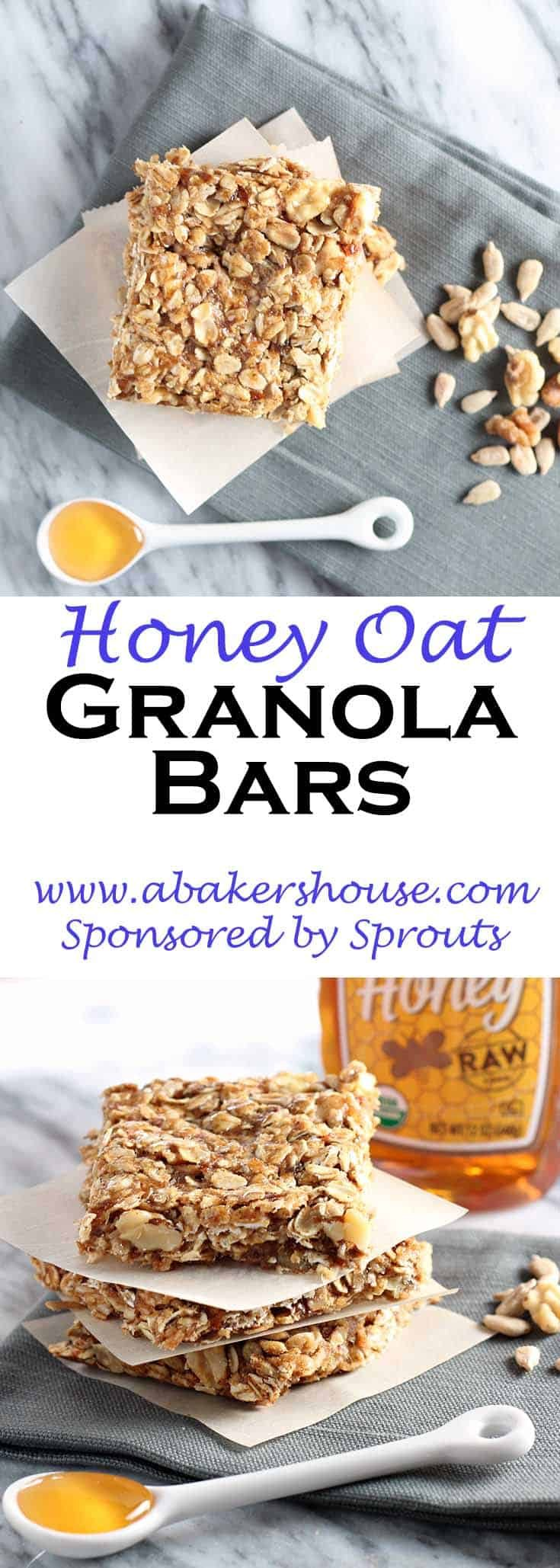 Honey Oat Granola bars combine quality ingredients into the ease of a granola bar. Granola bars come in all shapes and sizes and making them at home allows you to customize the ingredients. #sponsored #sprouts #abakershouse #granola #honey