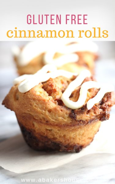 Pinterest image with text of single gluten free cinnamon roll with cream cheese icing