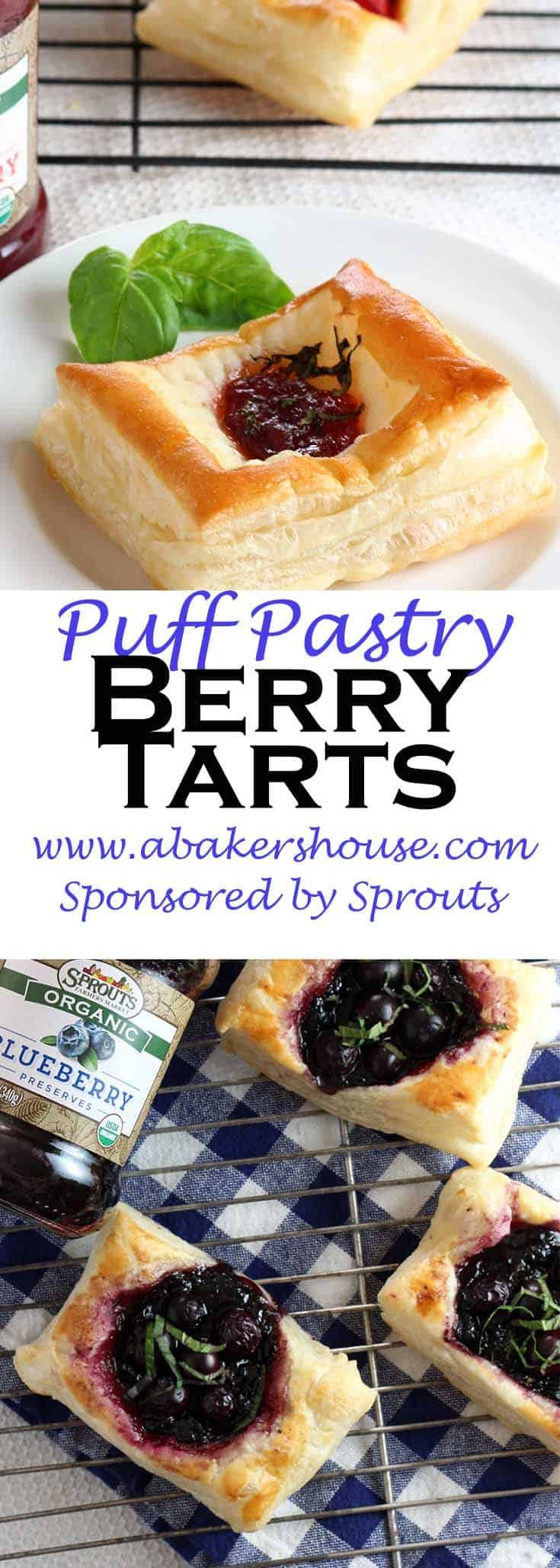 A puff pastry base serves as the canvas for theseBerry Tarts which highlight Sprouts Organic Preserves and fresh berries from their produce department. The preservesoffer a variety of options: strawberry, blueberry and apricot. #sponsored #abakershouse #sprouts #puffpastry #easy #breakfast