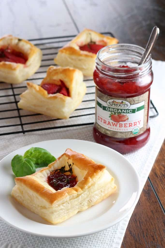 Puff pastry strawberry preserves tarts