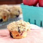 Single nectarine blueberry muffin with nectarines on side
