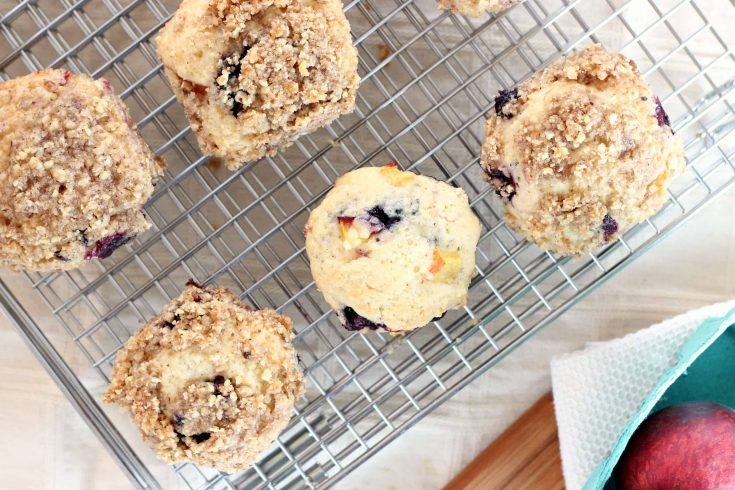 Nectarine-blueberry muffins-- the crumble topping is optional but oh-so-good. This recipe is one from America's Test Kitchen. The original recipe called for a cranberry-pecan combination and I switched it up to use nectarines, blueberries, and walnuts.  #muffins #muffinrecipe #abakershouse #blueberrymuffin #nectarinemuffin