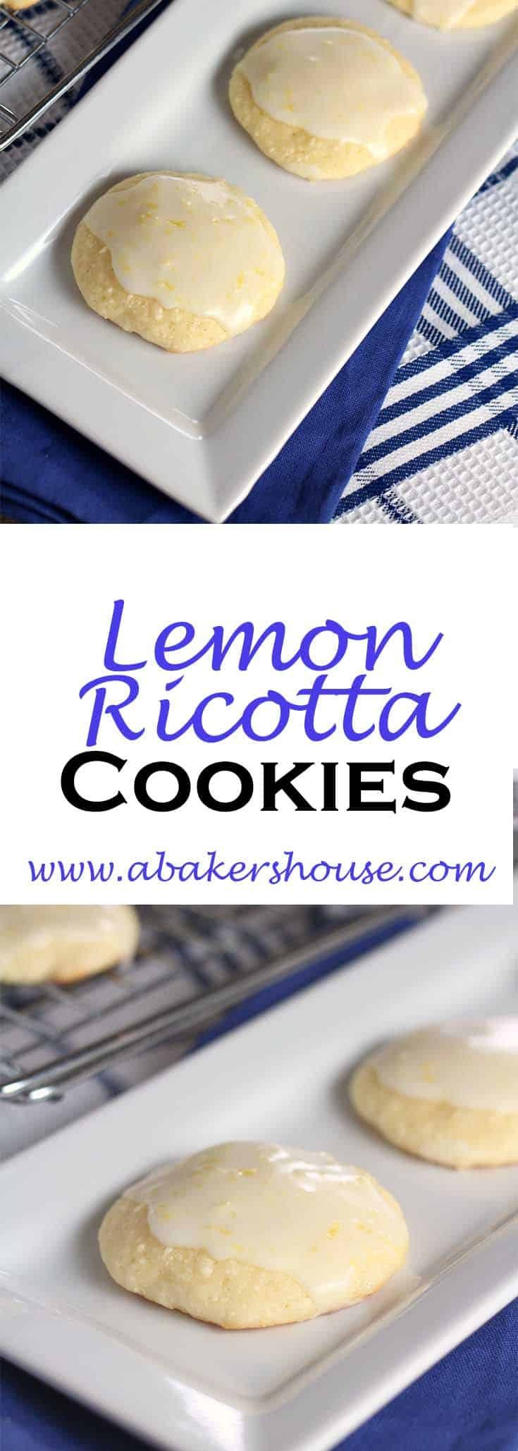 Lemon Ricotta Cookies are a fluffy and light cookie that reminded me of a madeleine -- half cookie and half cake-like. Topped with a lemon glaze made with lemon juice and zest, these cookies disappeared quickly! #abakershouse #lemoncookies #ricotta cookies
