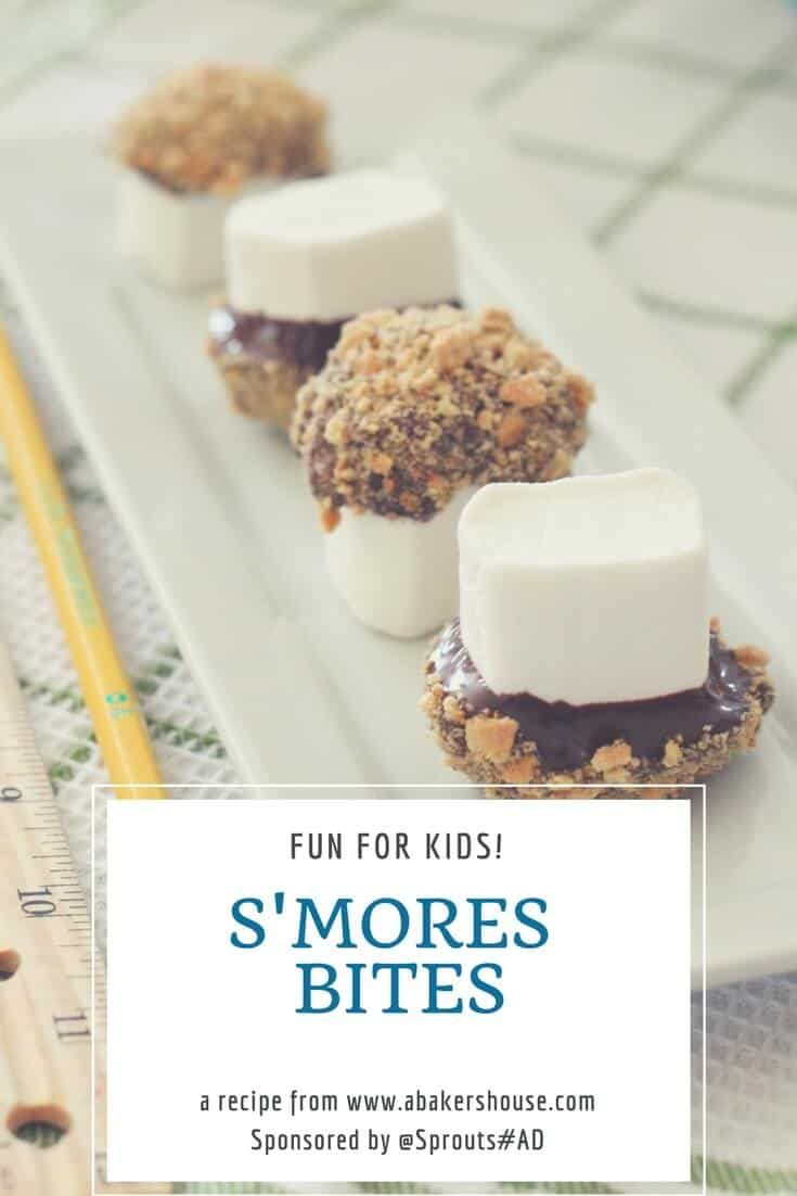 Smores bites are a mini and anytime version of the traditional campfire smores. Pack these in a lunch box or snack on them at home-- you can't eat just one! #Ad #SponsoredPost #smores #ILoveSprouts #abakershouse