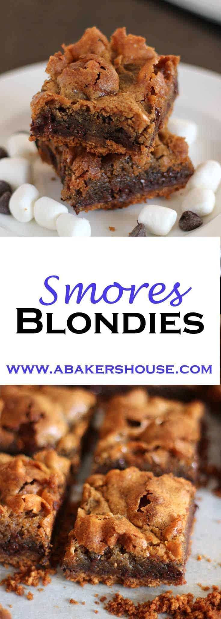 These s'mores blondies start with a graham cracker base then are topped with a blondie batter filled with marshmallows and chocolate chips. The result is a chewy bite that will remind you of sitting around the campfire enjoying s'mores. #abakershouse #smores #dessertbars