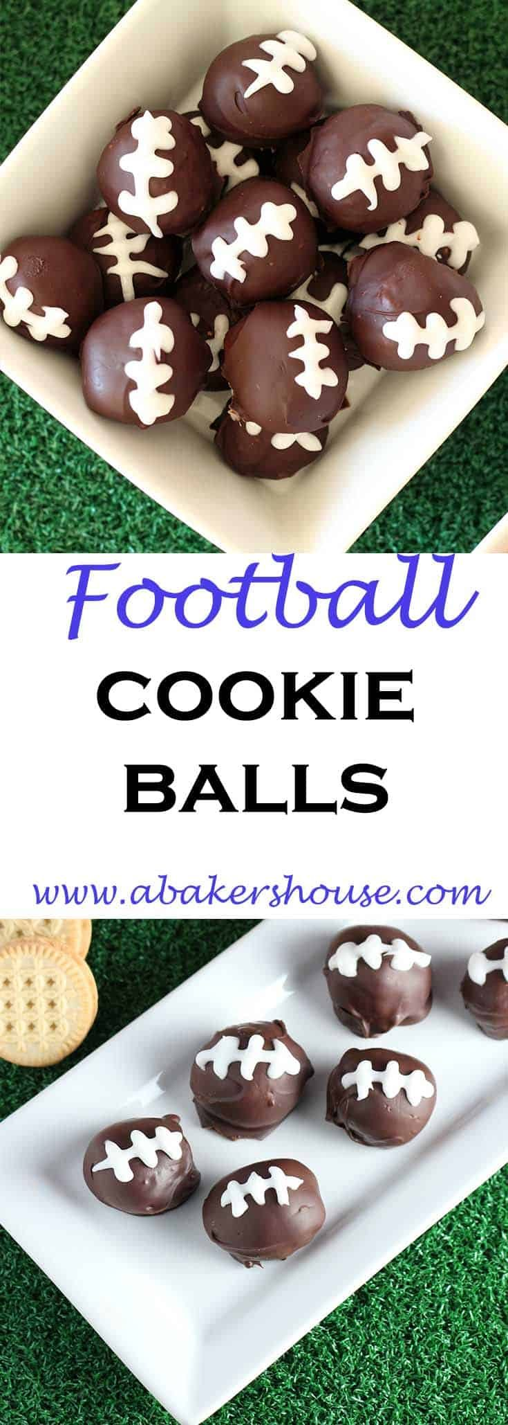 Get ready for some Super Bowl football with these decorated Football Cookie Balls. Cookies are processed into crumbs then added to cream cheese and powdered sugar to form a dough. Dip balls of dough into chocolate and decorate like footballs for the big game! #sponsored #sprouts #abakershouse #superbowl #football #cookieballs