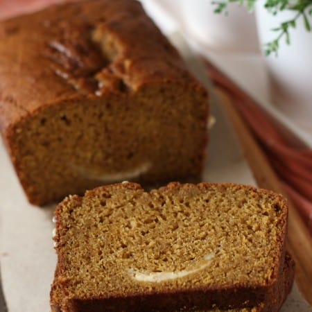 Pumpkin Bread with Cream Cheese Swirl #BreadBakers