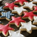 red, white and blue cookies make a flag