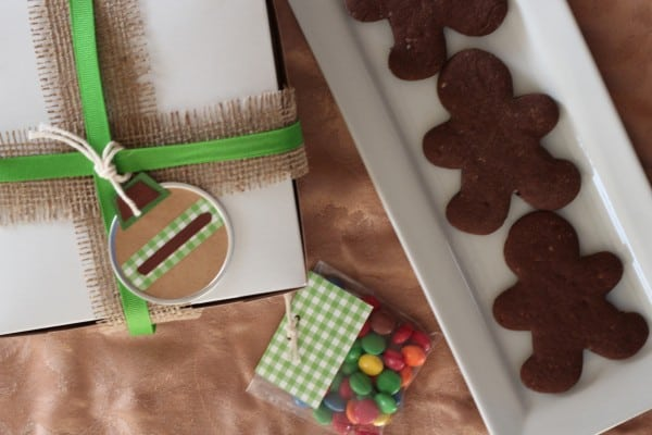 chocolate gingerbread cookies with holiday gift box