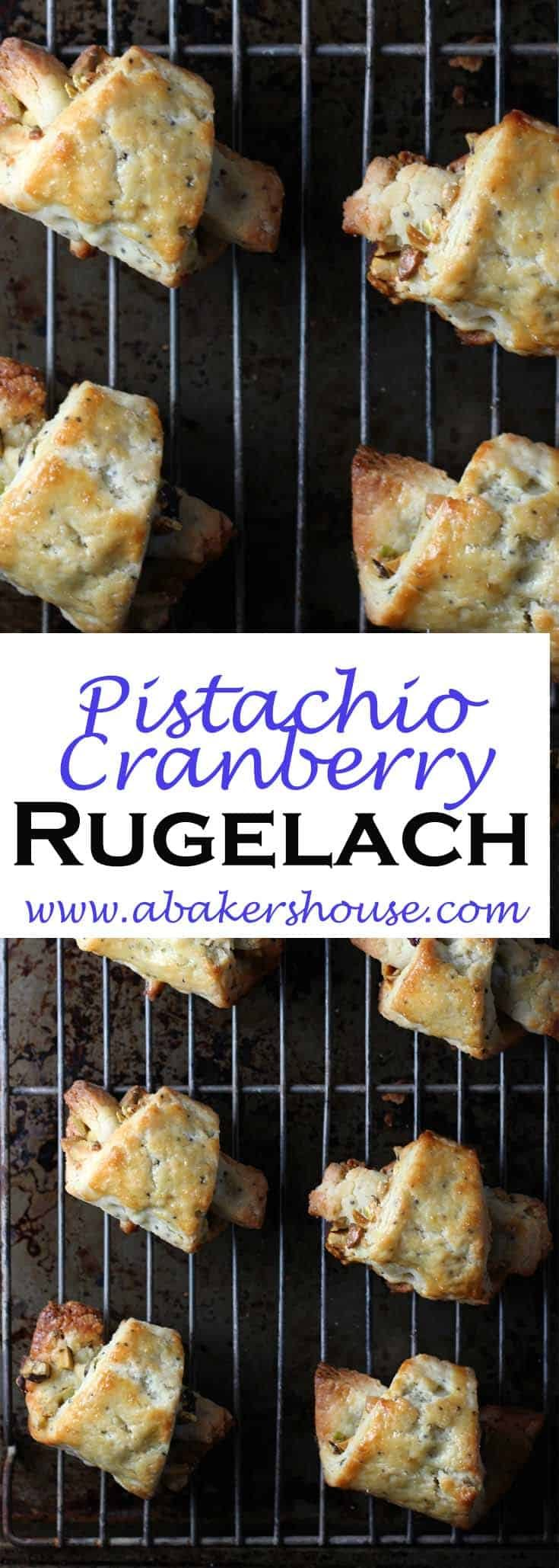 This pistachio-citrus rugelach recipe is from Whole Foods. I added dried cranberries toget into the Christmas spirit with a red and green filling. In fact my only addition was the one half cup of dried cranberries and the zest of an orange which you can add to the filling. #abakershouse #rugelach #holidaybaking #pistachio #cranberry #driedfruits