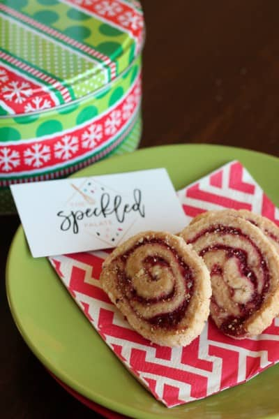 pinwheel swirled cookies on red napkin and green plate