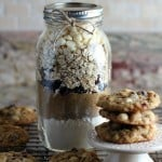 oatmeal cookies mix layered in a large mason jar