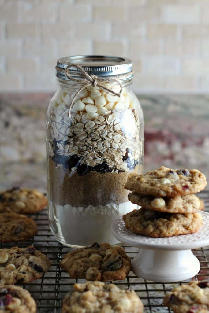 oatmeal cookie mix layered in a glass jar