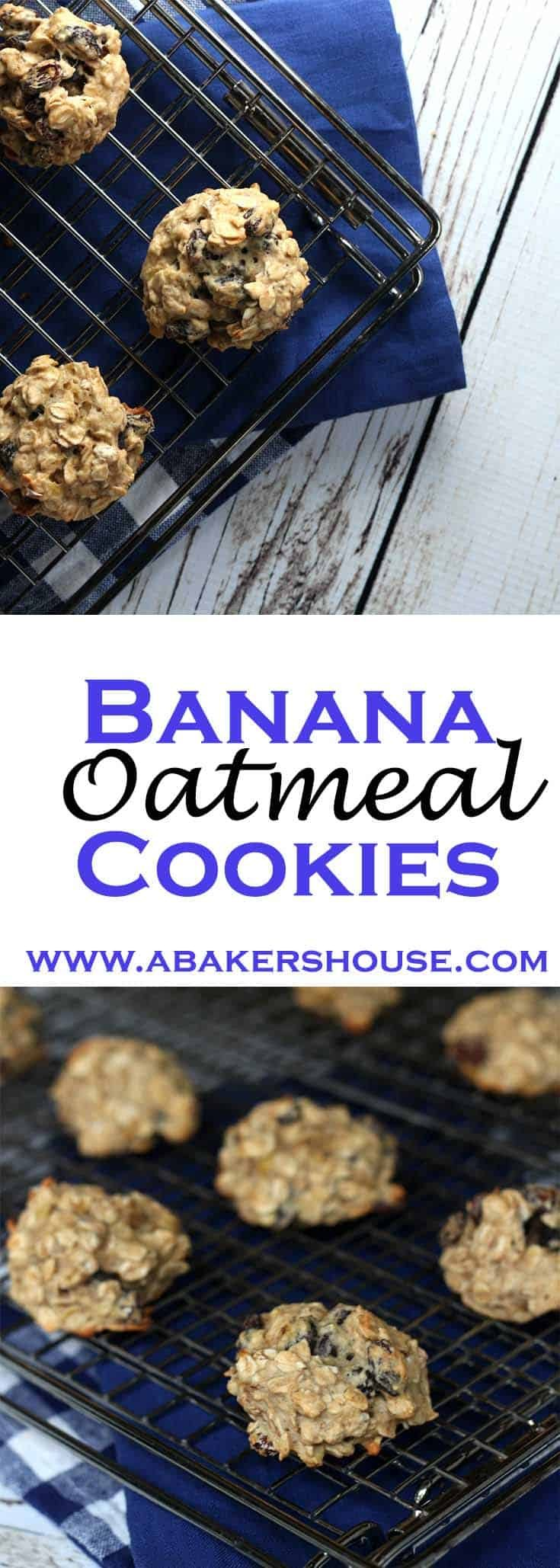 Banana Oatmeal Cookies add just enough of a twist to the traditional oatmeal cookie to make them special. With no added sugar, this recipe for banana oatmeal cookies packs the flavor without a heavy dose of sweetness. #abakershouse #bananacookies #oatmealcookies #lowsugarcookies