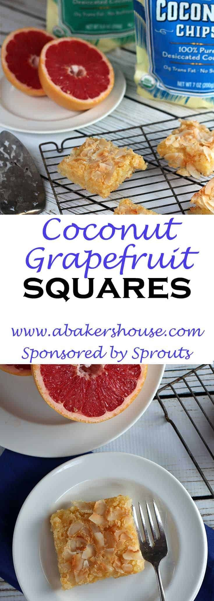 Take yourself on a tropical escape with these dreamy coconut-grapefruit squares! This dessert is a twist on the classic lemon square. A traditional shortbread crust with the addition of shredded coconut is combined with a vibrant grapefruit filling and a crunchy coconut topping.   #abakershouse #sponsored #sprouts #grapefruit #coconut #easydessert