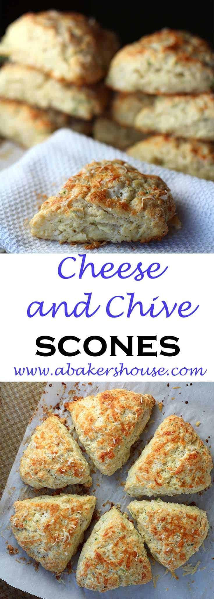 Cheese and Chive Scones: have these scones for breakfast, lunch, or dinner. Their delicate and layered interior makes them more biscuit-like and the cheesy crust and golden outside brings these back into the world of savory scones. #sconerecipe #abakershouse #scones #chives #cheddar #savoryrecipe