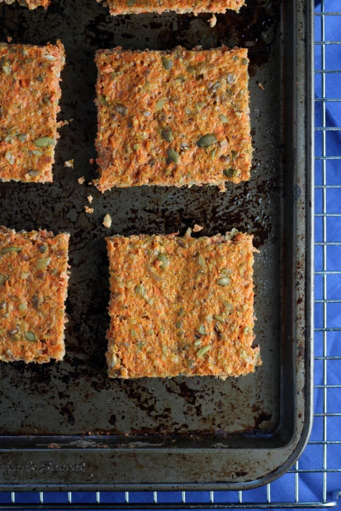 Squares of carrot-flatbread on baking pan from Cooking Light recipe