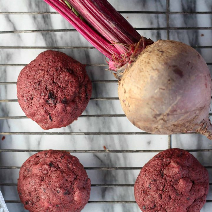 Chocolate chip cookies made with beets