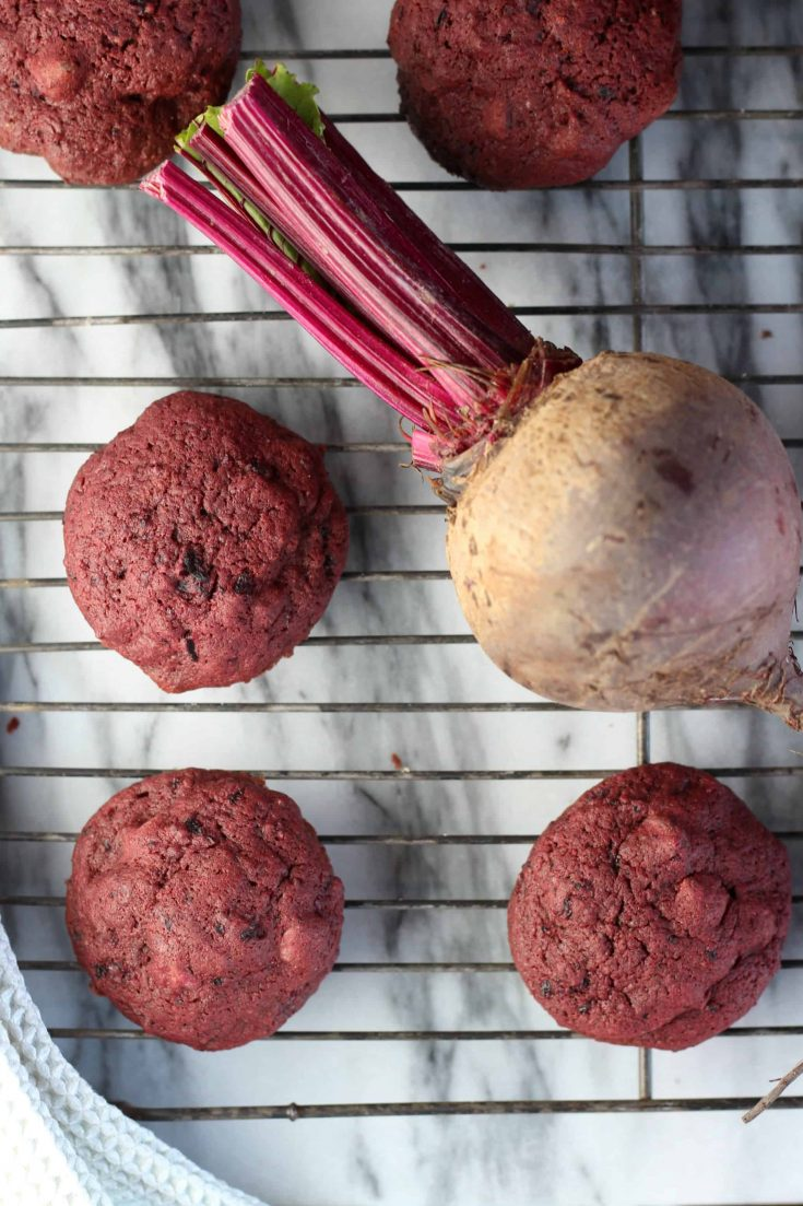 Red Velvet Chocolate Chip Cookies made with beets have no artificial colors-- the beets do all the work to achieve this festive hue! #beetcookies #healthycookies #redvelvet #cookierecipe #sponsored #sprouts #abakershouse