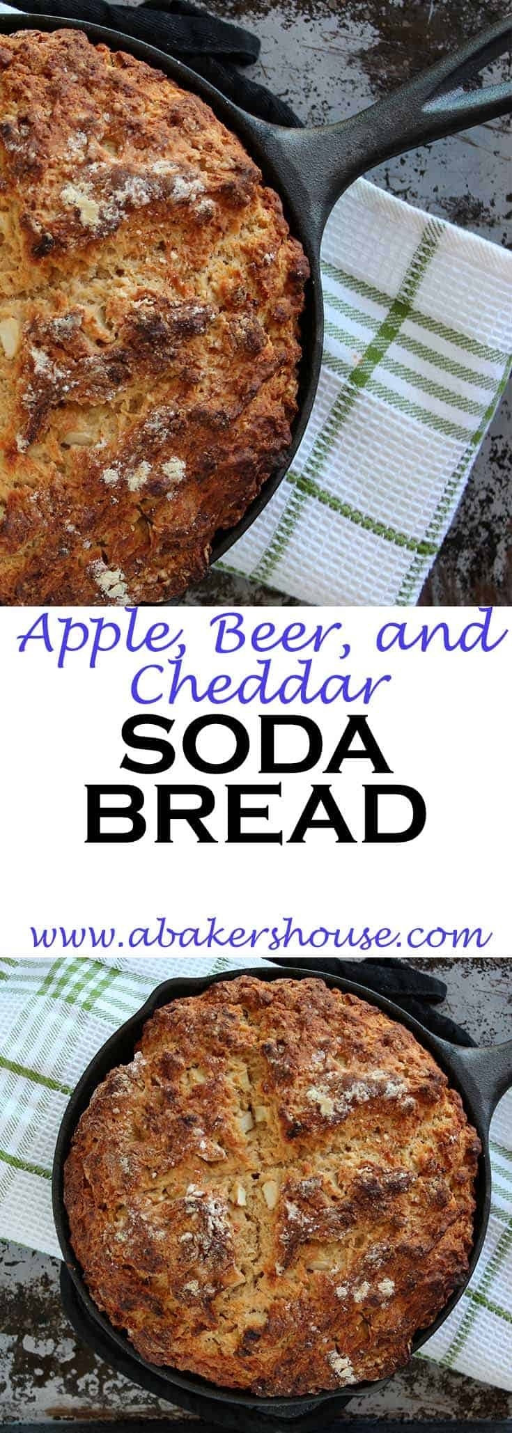 Apple, beer and cheddar soda bread is a variation on good old Irish Soda Bread. #abakershouse #irish #sodabread #beerbread