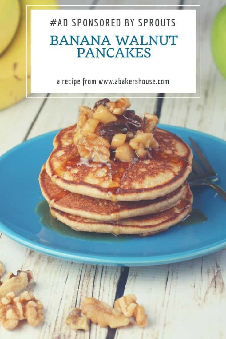 Whole Wheat Banana Walnut Pancakes | A Healthy Start to your day!  Sponsored by Sprouts #breakfastrecipe #sprouts #wholewheat #pancake #abakershouse