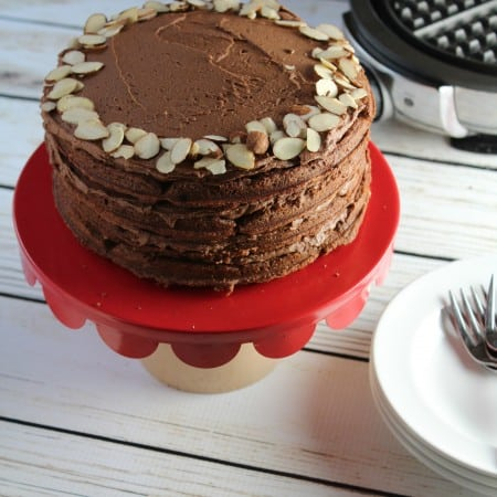 Gluten Free Double Chocolate Almond Layer Cake for #NationalWaffleDay with #Sprouts