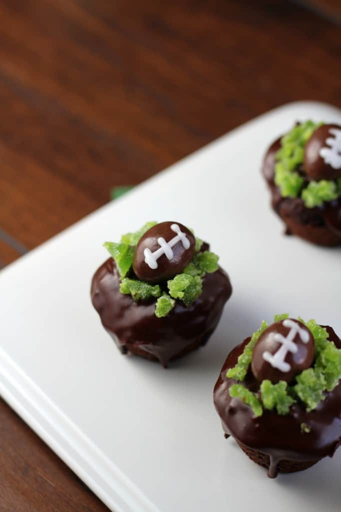 brownie bites with football decorations
