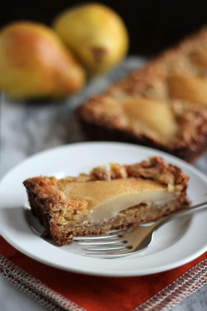 GF pear and walnut tart