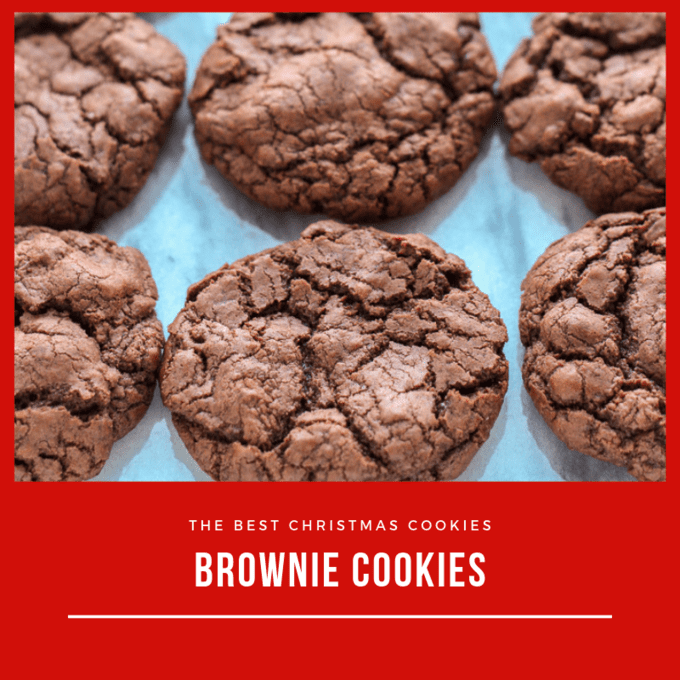 Square image of brownie cookies on a marble countertop