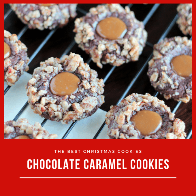 Square image of chocolate caramel thumbprint cookies