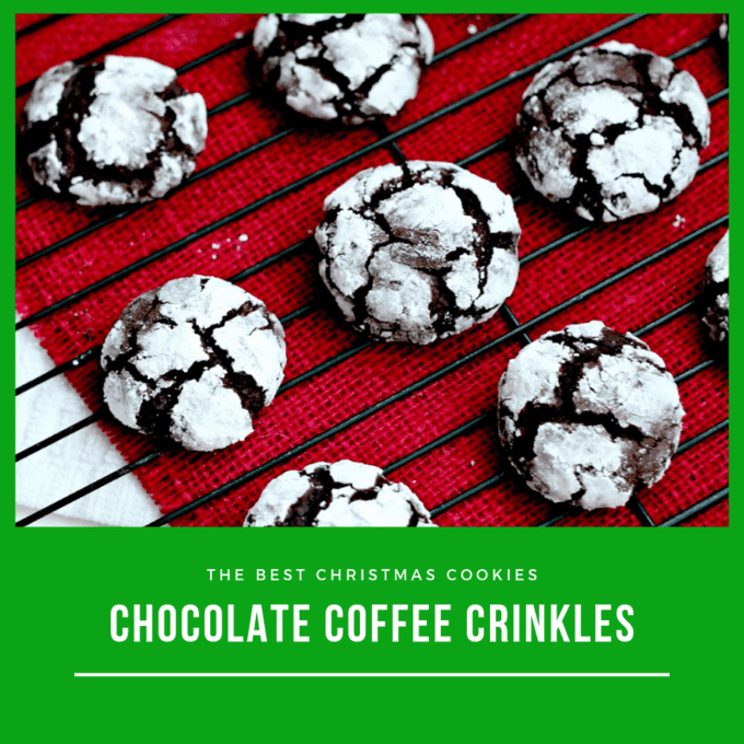 Coffee Crinkle cookies on a wire cooling rack on top of a red napkin