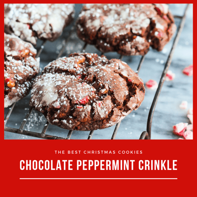 Chocolate peppermint crinkle cookie on wire rack with peppermint chips